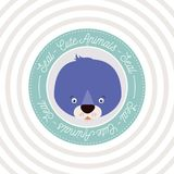 Circular background with color frame decorative and face seal cute animal text. Vector illustration Royalty Free Stock Images