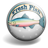 Circular badge of fresh fish Stock Photos