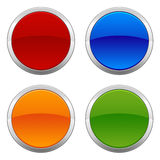 Circular Badges. A set of four colorful circular metallic badges left intentionally blank for customization Stock Images