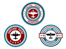 Circular badges for airplane tours Royalty Free Stock Photography
