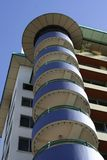Circular balconies on building. Exterior low angle view of circular balconies on modern building royalty free stock photography