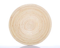 Circular Bamboo Dish. On White Background royalty free stock image