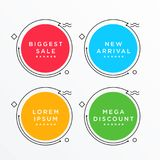 Circular banners set in memphis style with text space Royalty Free Stock Image