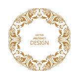 Circular baroque pattern. Round floral ornament. Vintage frame. Greeting card. Wedding invitation. Retro style. Vector logo template, labels and badges Stock Photos