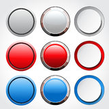 Circular blank glossy buttons Royalty Free Stock Photos