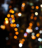 Circular bokeh background of City light in heart image Royalty Free Stock Images