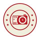Circular border with analog camera and stars. Vector illustration Royalty Free Stock Photo