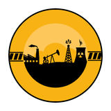 Circular border with background silhouette oil extraction machine with factory radioactive materials Stock Images
