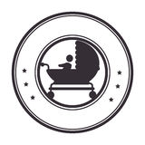 Circular border with black silhouette baby carriage Stock Photo