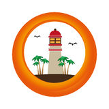 Circular border with colorful island with lighthouse Stock Images