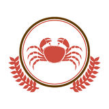 Circular border with crown branch with crab. Illustration Stock Photography