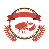 Circular border with crown branch with crab and label. Illustration Stock Photo