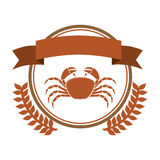 Circular border with crown branch with crab and label. Illustration Stock Photography