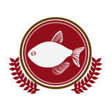 Circular border with crown branch with fish. Illustration Stock Photos