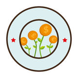 Circular border with flowers in coins shape Royalty Free Stock Image