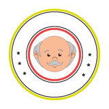 Circular border with front face elderly man Stock Images