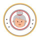 Circular border with front face elderly woman Stock Photos