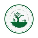 Circular border with garden and leafy tree plant with person pictogram Stock Image