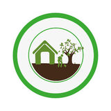Circular border with house and man with shovel and tree Royalty Free Stock Photo