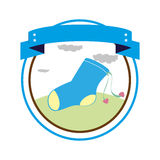 Circular border with label and sock for a baby boy Royalty Free Stock Photos