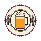 Circular border with leaves and foamy beer glass Royalty Free Stock Image