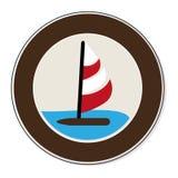 Circular border with ocean and yacht Stock Photos