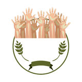 Circular border with olive branch and multiple hands up Stock Images