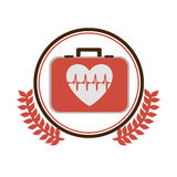Circular border with ornament leaves with first aid kit with heart with signs of life. Vector illustration Stock Images