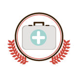Circular border with ornament leaves with Kit first aid in box icon Royalty Free Stock Photography