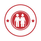 Circular border with pictogram elderly couple with walking stick Stock Images
