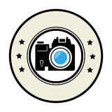 Circular border with professional camera and stars Stock Image