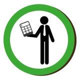 Circular border silhouette executive man with calculator Royalty Free Stock Image