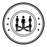 Circular border silhouette executive man with workers Stock Images