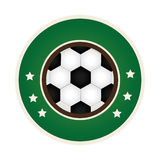 Circular border with soccer ball with decorative stars Royalty Free Stock Photos