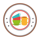 Circular border with stack of colorful coffee cups Stock Images