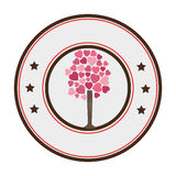 Circular border tree with leafy branches in heart shape form Royalty Free Stock Photography