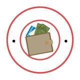 Circular border with wallet with money Stock Photos