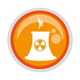 Circular button with factory radioactive materials Royalty Free Stock Image