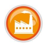 Circular button with factory and smoke contamination. Vector illustration Stock Photo