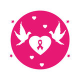 Circular button heart shape emblem pink with symbol breast cancer and pigeons Royalty Free Stock Images
