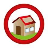 Circular button with house one floor inside and garden Royalty Free Stock Photos