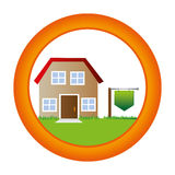 Circular button with house two floor inside and plaque in pole Stock Photo