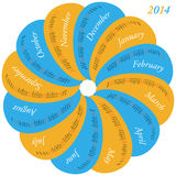 Circular calendar for 2014. Each month in a oval stock illustration