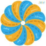 Circular calendar for 2014 Stock Image