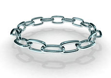 Circular Chain. 3d render of circular chain with shadow Stock Image