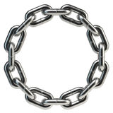 Circular chain ring. Circular shiny metal chain ring isolated on white Royalty Free Stock Photo