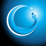 Circular christmas icon of Mary with baby Jesus. Beautiful cool tranquil blue curved Christmas icon of Mary cradling the baby Jesus in her arms with a glowing Royalty Free Stock Image