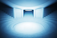 Circular church interior space in magic blue atmosphere Stock Photos
