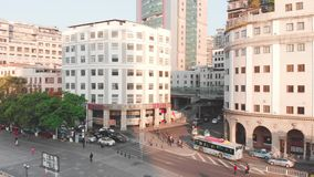 Circular circling drone. Sunrise, car traffic. Guangzhou, China stock video footage