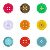 Circular clothes button icon set, flat style. Circular clothes button icon set. Flat set of 9 circular clothes button vector icons for web isolated on white Stock Photography